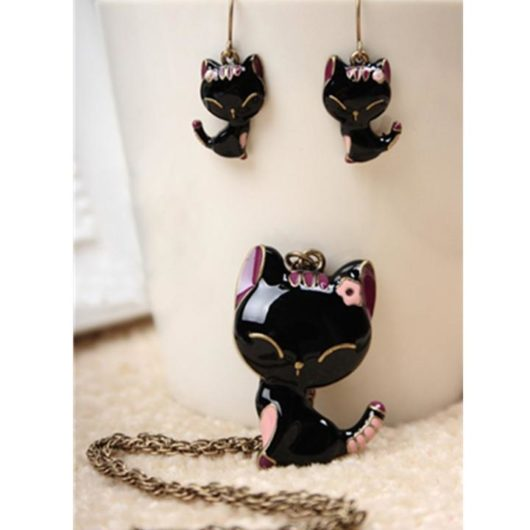 Cat Jewelry Necklace and Earrings