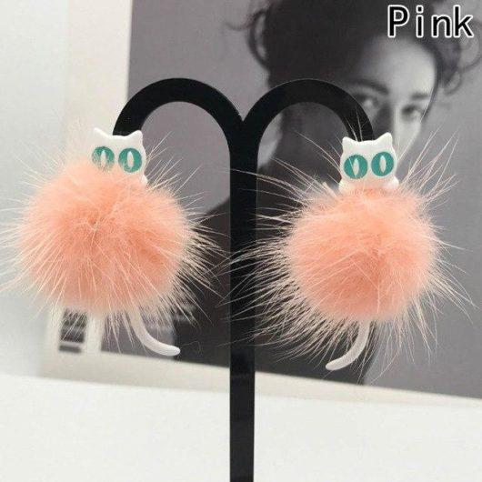 Cute Fur Ball 3D Cat Earrings