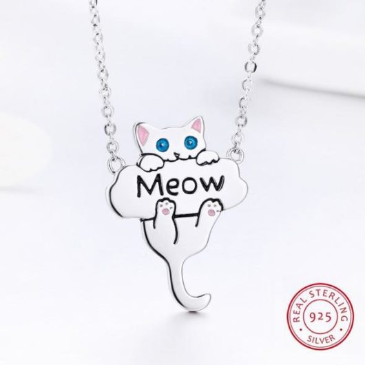 """MEOW"" 925 Sterling Silver Necklace"